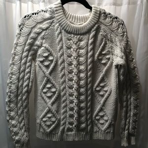 Anthropology chunky ivory knit sweater